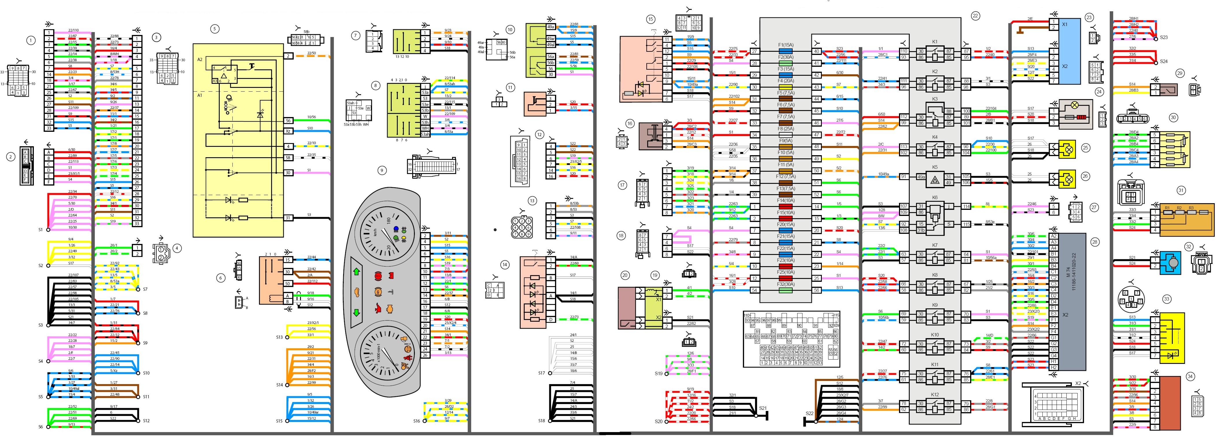 электрическая схема света газель